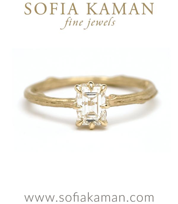 Emerald Cut Diamond Twig Band Boho Engagment Ring