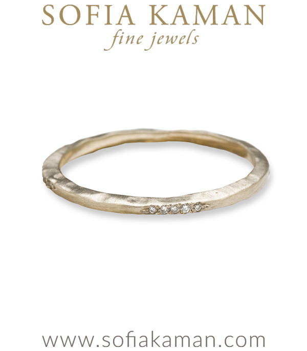 Gold Hammered Textured Micro Pave Diamond Skinny Stacking Ring