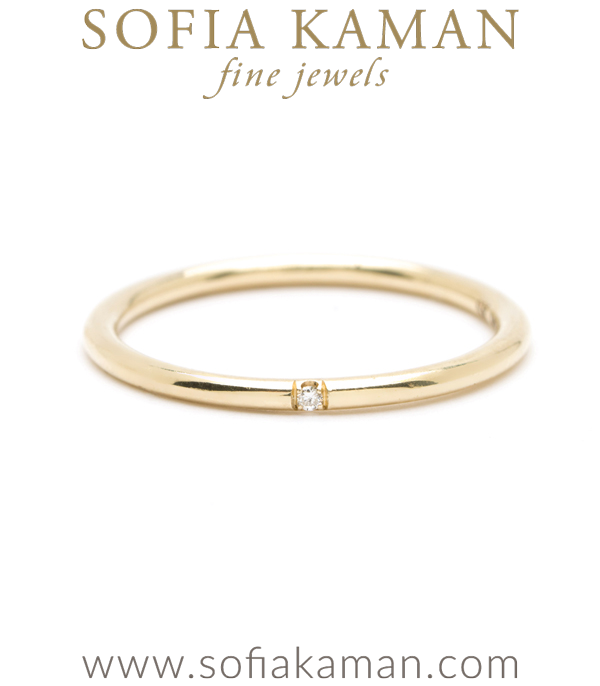 Gold Wire Band Diamond Accent Stacking Band