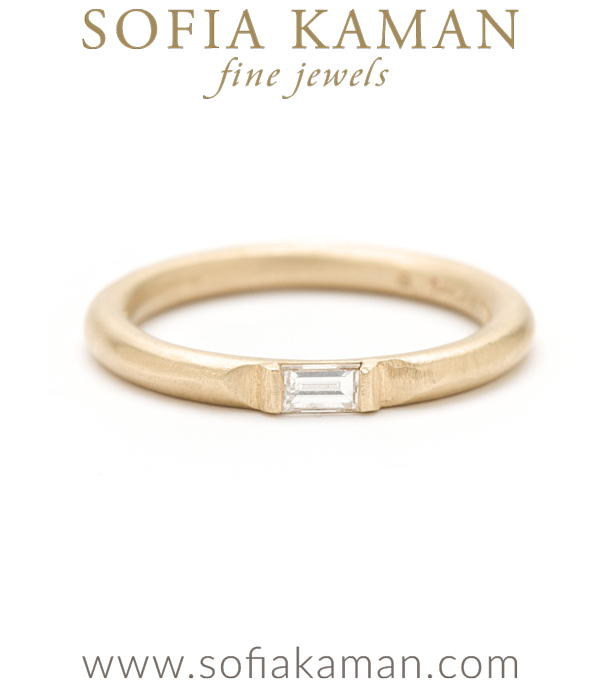 Gold Wire Band Diamond Baguette Stacking Ring