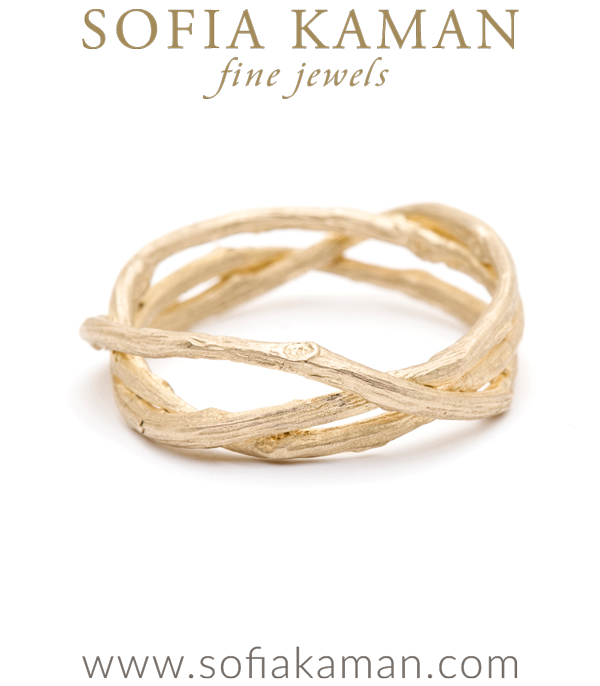 Gold Woven Branch Diamond Accent Wedding Band