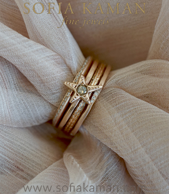 14K Rose Gold and Diamonds Twinkling Star Boho Summer Stacking Ring Set designed by Sofia Kaman handmade in Los Angeles