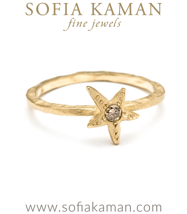 Tiny Shooting Star Champagne Diamond Gold Stacking Ring