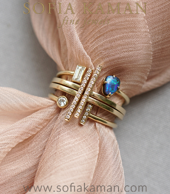 Gold Diamond Boulder Opal Boho Stacking Ring Set designed by Sofia Kaman handmade in Los Angeles