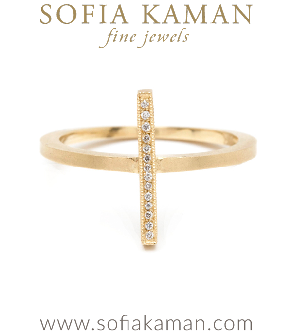 Gold Micro Pave Diamond Row Stick Stack Ring