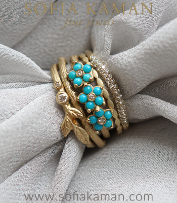 Twig Rings Gold Turquoise Unique Boho Stacking Ring Set designed by Sofia Kaman handmade in Los Angeles