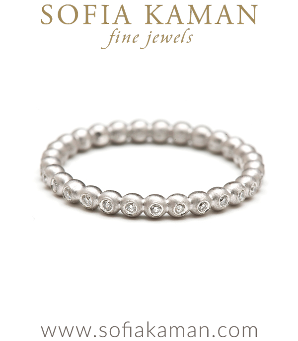 Gold Bubble Band Stacking Ring With Diamonds