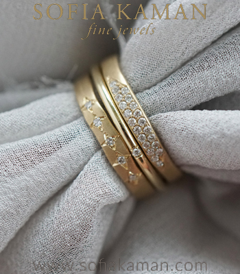 Sofia Kaman Discounted Gold and Diamond Bohemian Stacking Ring Set designed by Sofia Kaman handmade in Los Angeles