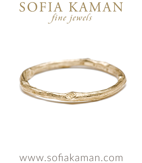 14k Gold Branch Textured Band Stack Ring