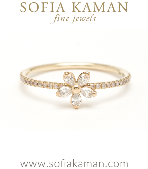 Gold Diamond Daisy Stacking Ring