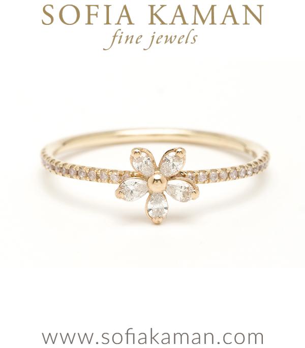 Gold Diamond Daisy Stacking Ring