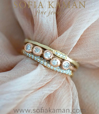 14K Gold Diamond Bohemian Unique Wedding Band Stack designed by Sofia Kaman handmade in Los Angeles