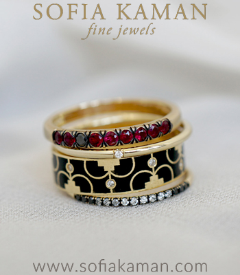 Enamel Stacking Rings 14K Gold Diamond Ruby Liberty Patriotic Stacking Ring Set designed by Sofia Kaman handmade in Los Angeles