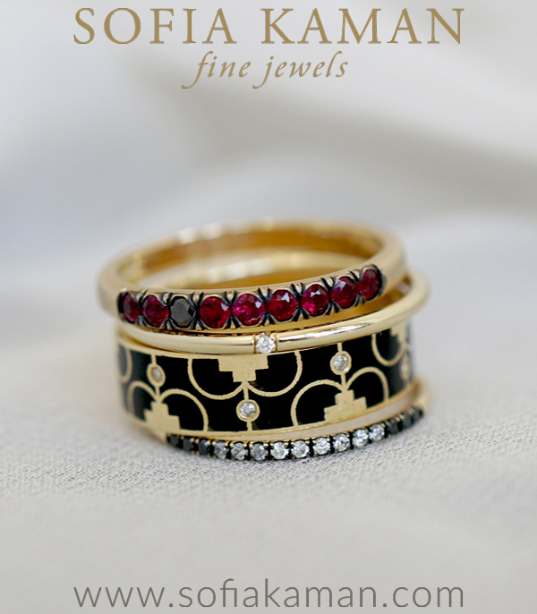 14K Gold Diamond Ruby Liberty Patriotic Stacking Ring Set designed by Sofia Kaman handmade in Los Angeles using our SKFJ ethical jewelry process.