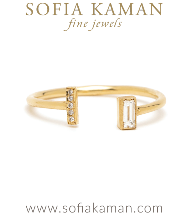 Adjustable Baguette Pave Diamond Stacking Ring