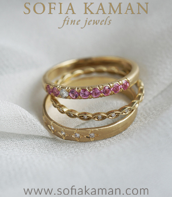 14K Yellow Gold Diamond Unique Stacking Ring Set Perfect Gift for Girlfriend designed by Sofia Kaman handmade in Los Angeles