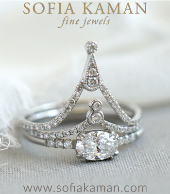 French Inspired Gold and Platinum Diamond Stacking Ring Set designed by Sofia Kaman handmade in Los Angeles