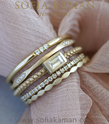 14K Gold and Diamond Elegant Engagement Ring Bridal Stack designed by Sofia Kaman handmade in Los Angeles