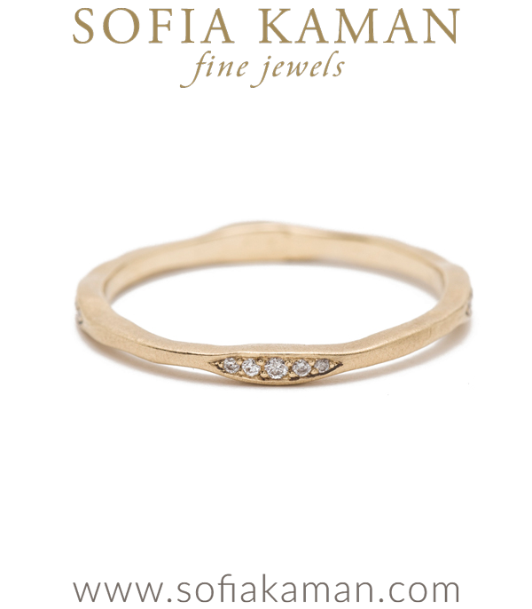 14k Gold Organic Diamond Stacking Ring