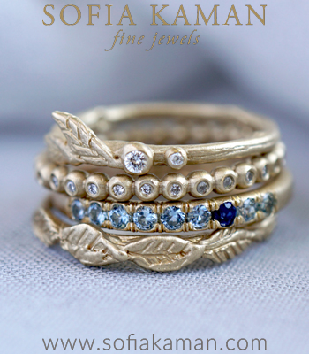 Gold Diamond Blue Sapphire Unique Wedding Ring Stacking Set designed by Sofia Kaman handmade in Los Angeles