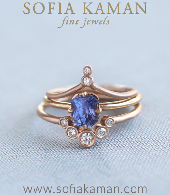 Violetta Diamond and Sapphire Boho Stacking Ring Set Engagement Ring Styles designed by Sofia Kaman handmade in Los Angeles