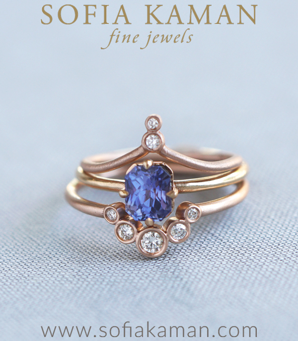 Violetta Diamond and Sapphire Boho Stacking Ring Set Engagement Ring Styles designed by Sofia Kaman handmade in Los Angeles using our SKFJ ethical jewelry process.