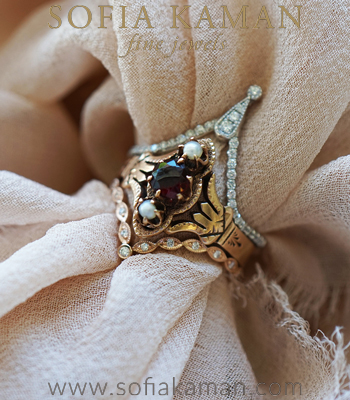The Nina Stack Boho and Vintage Stacking Ring Set designed by Sofia Kaman handmade in Los Angeles