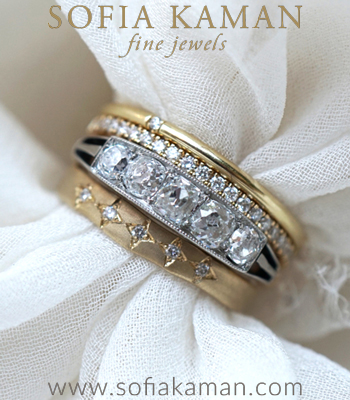 14K Gold and Platinum Diamond Unique Engagement Ring Stack designed by Sofia Kaman handmade in Los Angeles