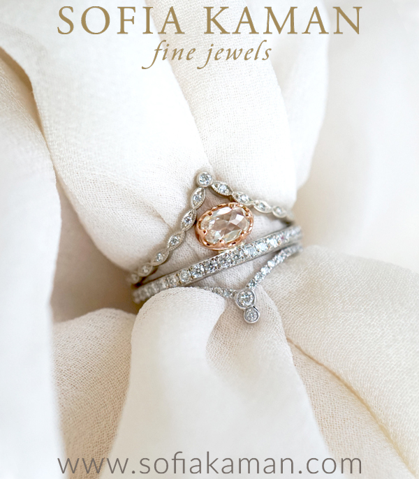 Stack of the Week Matches Perfectly with Unique Engagement Rings designed by Sofia Kaman handmade in Los Angeles using our SKFJ ethical jewelry process.