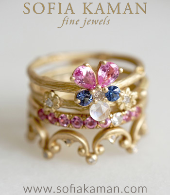 Diamond Sapphire Boho Unique Engagement Ring Stacking Set designed by Sofia Kaman handmade in Los Angeles