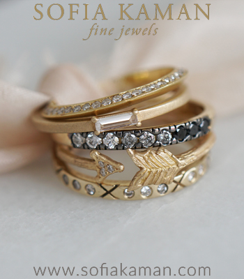 Gold and Diamond Stacking Ring Set Perfect for Unique Engagement Rings designed by Sofia Kaman handmade in Los Angeles