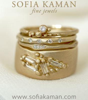 The Gemma Stack Unique Engagement Rings Boho Bridal Stack designed by Sofia Kaman handmade in Los Angeles