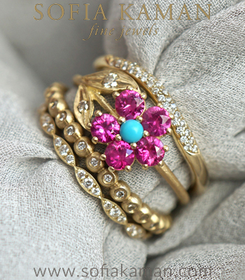 Pink Sapphire Turquoise Champagne Diamond Unique Engagement Rings Stacking Set designed by Sofia Kaman handmade in Los Angeles