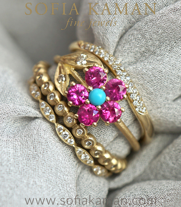Pink Sapphire Turquoise Champagne Diamond Unique Engagement Rings Stacking Set designed by Sofia Kaman handmade in Los Angeles using our SKFJ ethical jewelry process.
