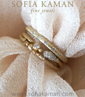 Gold and Diamond Boho Stacking Ring Set for Engagement Rings designed by Sofia Kaman handmade in Los Angeles