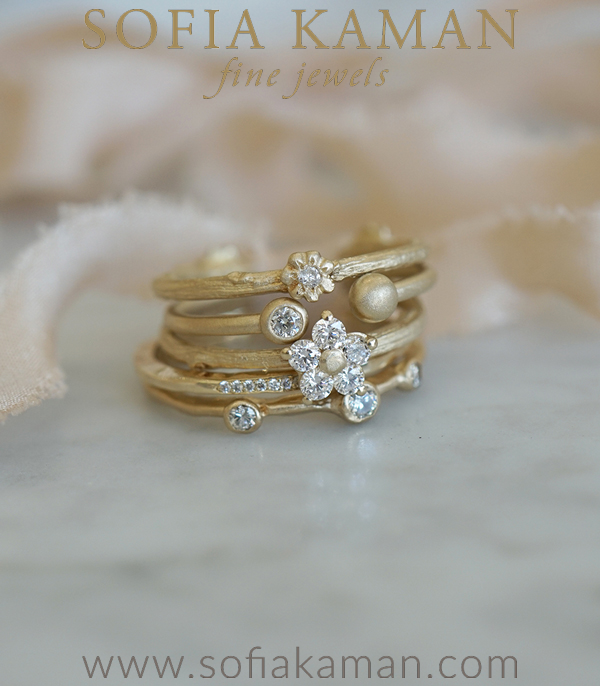 Gold and Diamonds Peace Stack Engagement Rings designed by Sofia Kaman handmade in Los Angeles using our SKFJ ethical jewelry process.