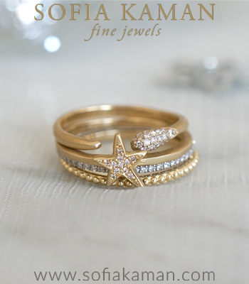 Sparkler Stack Unique Wedding Bands for Women designed by Sofia Kaman handmade in Los Angeles