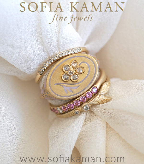 Gold Enamel Diamond Bohemian Bridal Stacking Ring Set designed by Sofia Kaman handmade in Los Angeles using our SKFJ ethical jewelry process.
