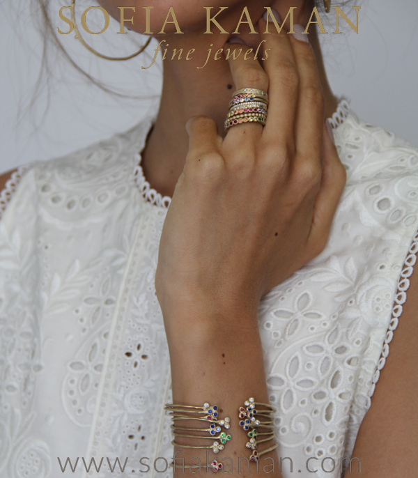Nature Inspired Gold Textured Trilogy Diamond Boho Bracelete Shown