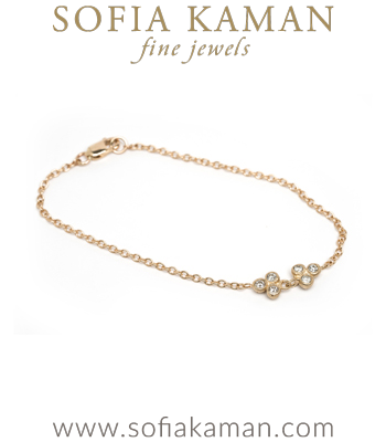 14k Gold Ethically Sourced Diamond Trilogy Everyday Bohemian Bracelet designed by Sofia Kaman handmade in Los Angeles