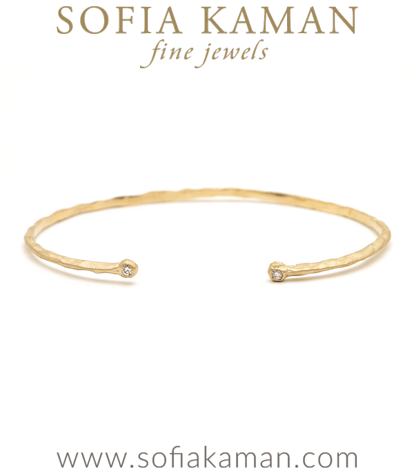 14K Gold Organic Textured Thin Cuff with Diamonds to go with Engagement Rings designed by Sofia Kaman handmade in Los Angeles using our SKFJ ethical jewelry process.