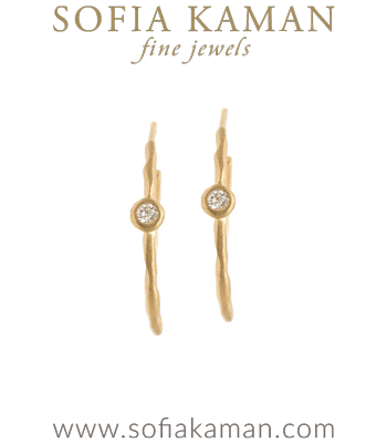 14K Gold Ethically Sourced Diamond Small Boho Hoop Earrings designed by Sofia Kaman handmade in Los Angeles