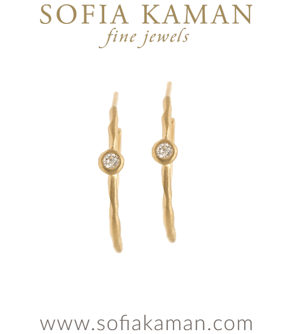 14K Gold Ethically Sourced Diamond Small Boho Hoop Earrings designed by Sofia Kaman handmade in Los Angeles using our SKFJ ethical jewelry process.