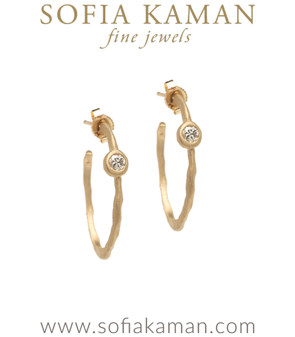 14K Gold Ethically Sourced Diamond Small Thick Bohemian Bridal Hoop Earrings designed by Sofia Kaman handmade in Los Angeles using our SKFJ ethical jewelry process.