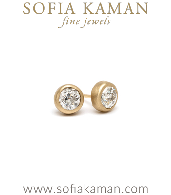 Ethically Sourced Rose Cut Diamond Stud Earrings designed by Sofia Kaman handmade in Los Angeles