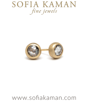14K Gold Salt and Pepper Diamond Stud Earrings Perfect for Unique Engagement Rings designed by Sofia Kaman handmade in Los Angeles