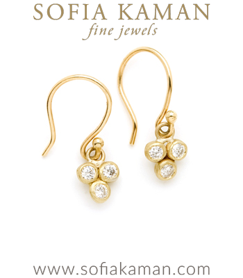 Gold 3 Dangling Textured Bezel Set Diamond Boho Bridal Earrings designed by Sofia Kaman handmade in Los Angeles