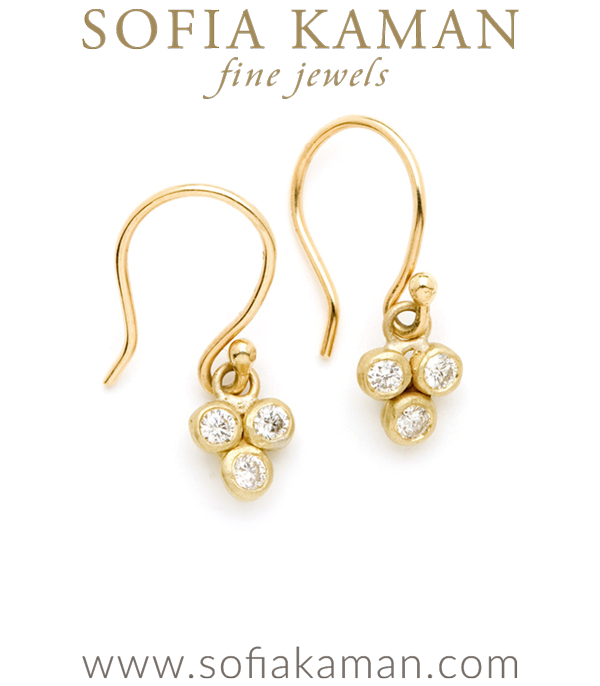Gold 3 Dangling Textured Bezel Set Diamond Boho Bridal Earrings designed by Sofia Kaman handmade in Los Angeles using our SKFJ ethical jewelry process.