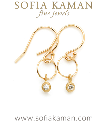 14K Matte Gold Ethically Sourced Diamond One Link Hoop Boho Earrings designed by Sofia Kaman handmade in Los Angeles