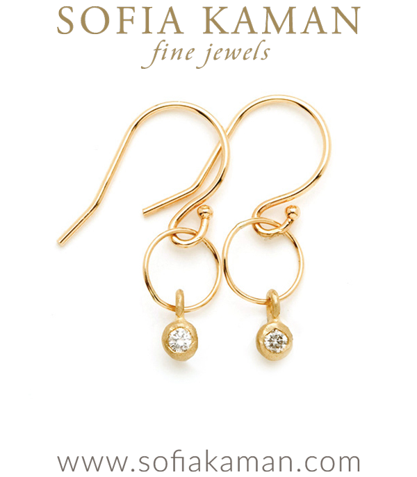 14K Matte Gold Ethically Sourced Diamond One Link Hoop Boho Earrings designed by Sofia Kaman handmade in Los Angeles using our SKFJ ethical jewelry process.